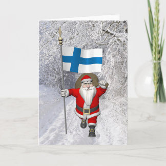 Jolly Santa Claus With Flag Of Finland Holiday Card