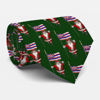 Jolly Santa Claus With Flag Of Hawaii Tie