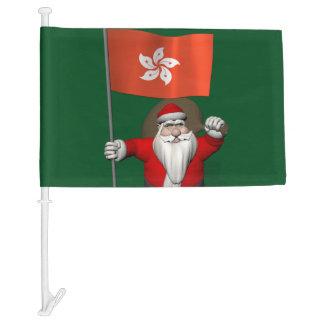 Jolly Santa Claus With Flag Of Hong Kong