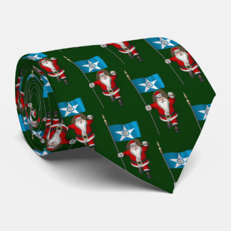 Jolly Santa Claus With Flag Of  Houston Tie