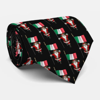 Jolly Santa Claus With Flag Of Italy Neck Tie