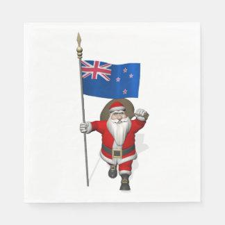 Jolly Santa Claus With Flag Of New Zealand Napkin