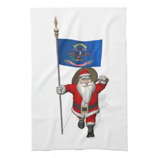 Jolly Santa Claus With Flag Of North Dakota Towel