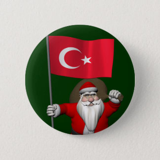 Jolly Santa Claus With Flag Of Turkey Button