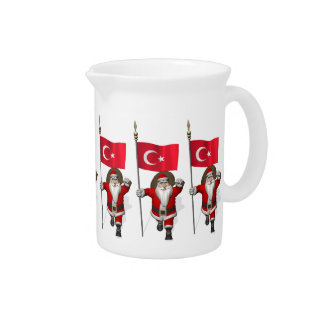 Jolly Santa Claus With Flag Of Turkey Drink Pitcher
