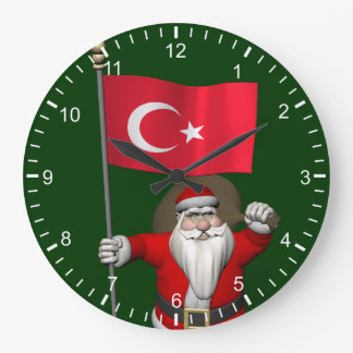 Jolly Santa Claus With Flag Of Turkey Large Clock