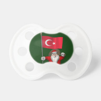 Jolly Santa Claus With Flag Of Turkey Pacifier