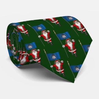 Jolly Santa Claus With Flag Of Utah Neck Tie