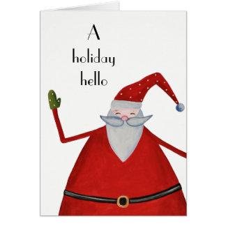 Jolly Santa Holiday Hello Fun Christmas Greeting Card