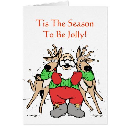 Jolly santa hugging reindeer funny christmas card zazzle for Funny reindeer christmas cards