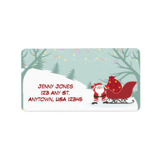 Jolly Santa in the Snow Label