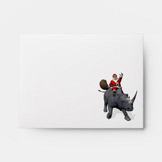 Jolly Santa Riding A Rhino Envelope