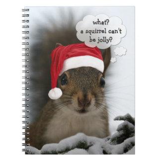 Jolly Santa Squirrel Christmas Fun Cute Spiral Notebook