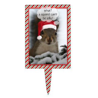 Jolly Santa Squirrel™ Fun Christmas Holiday Cake Topper