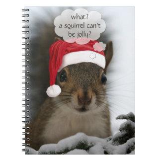 Jolly Santa Squirrel™ Fun Christmas Holiday Spiral Notebook