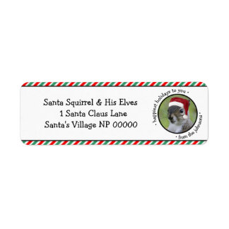 Jolly Santa Squirrel Says Happiest Holidays Label