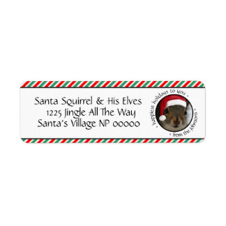 Jolly Santa Squirrel™ Says Happiest Holidays Label