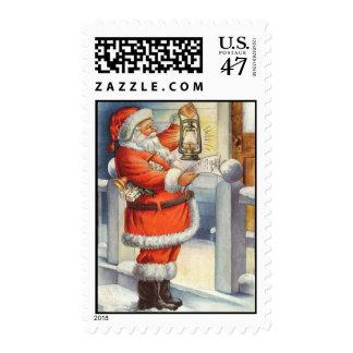 Jolly Santa Vintage Christmas Stamps