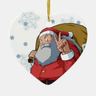 Jolly Santa with Peace Sign Merry Christmas Christmas Tree Ornament