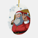 Jolly Santa with Peace Sign Merry Christmas Ornaments
