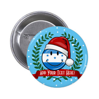 Jolly Smiling Christmas Style Honduran Flag Button