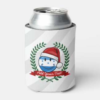Jolly Smiling Christmas Style Honduran Flag Can Cooler