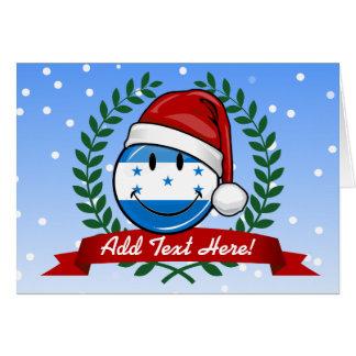 Jolly Smiling Christmas Style Honduran Flag Card