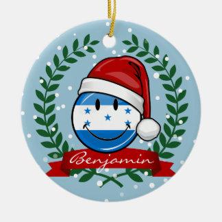 Jolly Smiling Christmas Style Honduran Flag Ceramic Ornament