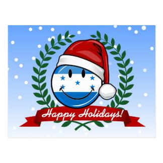 Jolly Smiling Christmas Style Honduran Flag Postcard