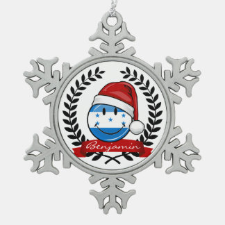 Jolly Smiling Christmas Style Honduran Flag Snowflake Pewter Christmas Ornament