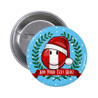 Jolly Smiling Peruvian Flag Christmas Style Pinback Button