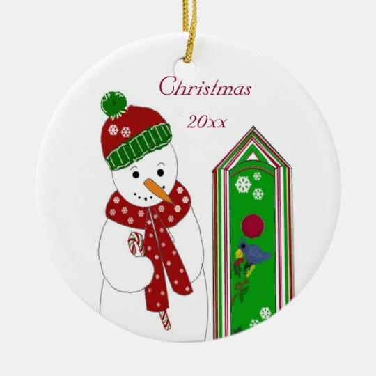 Jolly Snowman and Bird House Ceramic Ornament