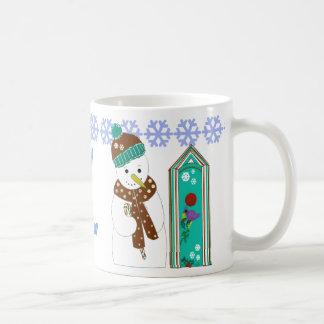 Jolly Snowman and Bird Houses Coffee Mug