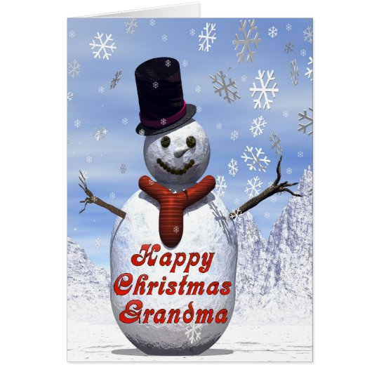 Jolly snowman  Christmas card for grandma