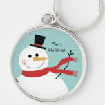 Jolly Snowman Christmas Silver-Colored Round Keychain