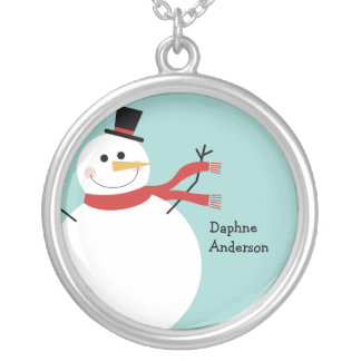 Jolly Snowman Christmas Silver Plated Necklace