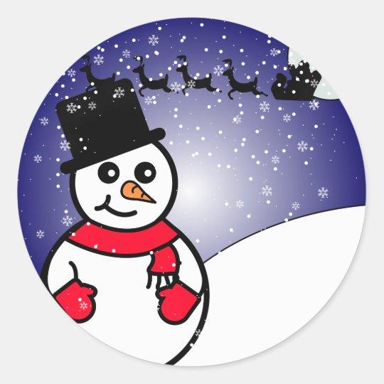 Jolly Snowman Classic Round Sticker