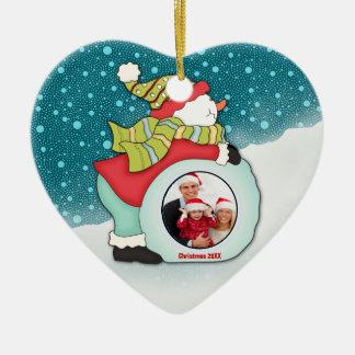 Jolly Snowman Custom Photo Christmas Dated Year Ceramic Ornament
