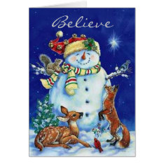 Jolly Snowman & Forest Friends Christmas Card at Zazzle