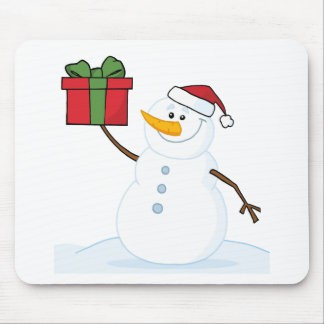 Jolly Snowman Holding A Christmas Present Mouse Pad