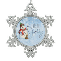 Jolly Snowman LBJa Snowflake Pewter Christmas Ornament