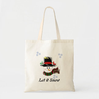 Jolly Snowman Let it Snow Tote Bag