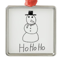 Jolly Snowman Metal Ornament