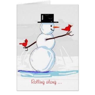 Jolly Snowman Red Cardinals Winter Greeting Card