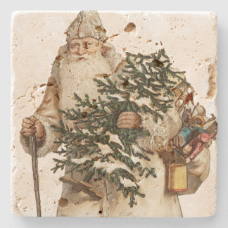 Jolly St Nick With Christmas Tree Stone Beverage Coaster