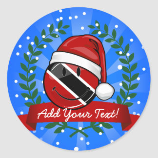Jolly Trinidad Flag Christmas Style Classic Round Sticker