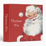 Jolly Winking Santa Claus, Vintage Christmas 3 Ring Binder