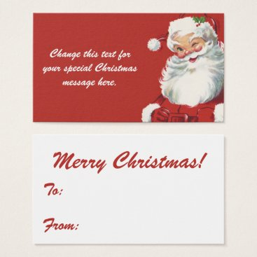 Christmas Themed Jolly Winking Santa Claus, Vintage Christmas Business Card