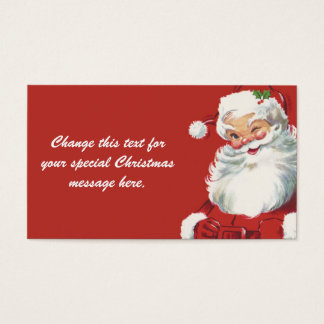 Jolly Winking Santa Claus, Vintage Christmas Business Card