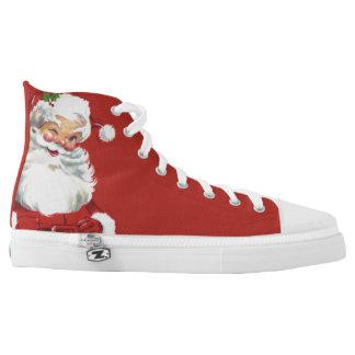 Jolly Winking Santa Claus, Vintage Christmas High-Top Sneakers
